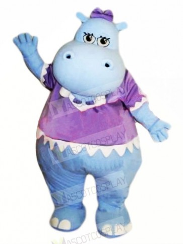 Blue Hippo with Purple T-shirt Mascot Costumes Cheap