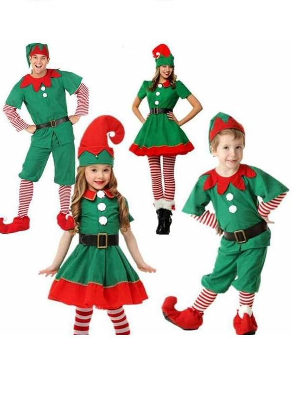 Christmas Elf Costume.Christmas Elf Costumes Kid Xmas Cosplay Fancy Dress Parent Child Suit Gift