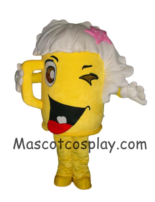 0d27d8e0c Custom Made Mascot Costume Yellow Cartoon Cup Glass Beer Bottle Walking  Doll Mascot Costumes