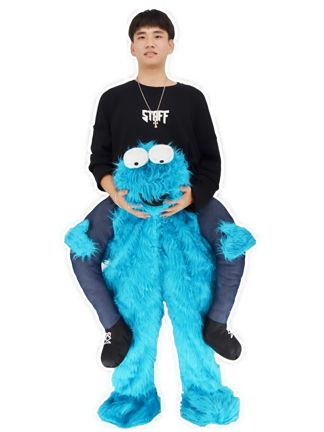 Piggy Back Cookie Monster Carry Me Ride on Sesame Street Mascot Costumes  Halloween