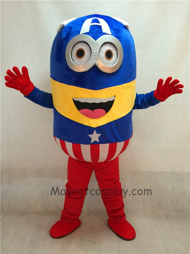 Despicable Me Minions Captain America Mascot Costume Fancy Dress Outfit & High Quality Adult Despicable Me Minions Captain America Mascot ...