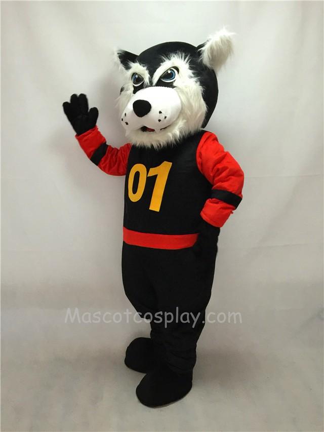 & Fierce Black Bearcat Mascot Costume in Red Sleeves Coat