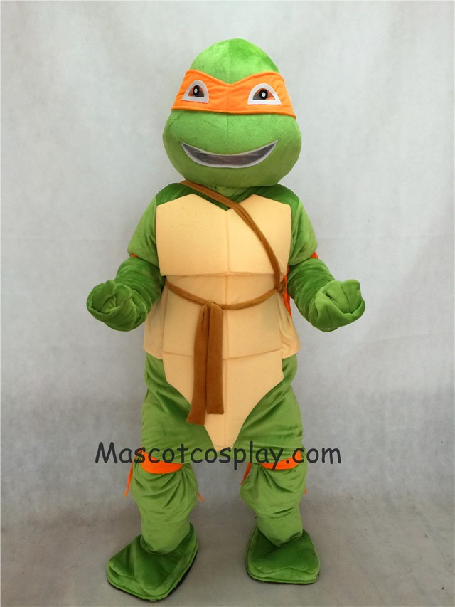 Orange TMNT Teenage Mutant Ninja Turtle Mascot Adult Character Costume Birthday Party Fancy Dress Outfit & Michelangelo Mikey