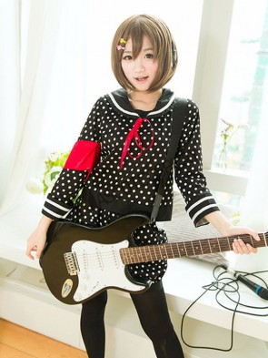Hirasawa Yui K-ON! Polka Dot Cosplay Sailor Costume Set