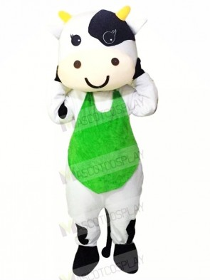 Milk Cow with Green Vest Mascot Costumes Cheap
