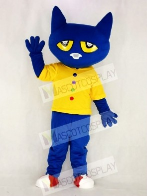 Funny Blue Pete Cat with Yellow Vest Mascot Costume School