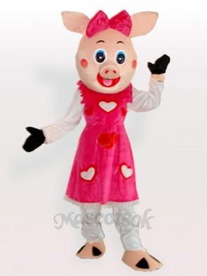 Smiling Piggy Girl Adult Mascot Costume