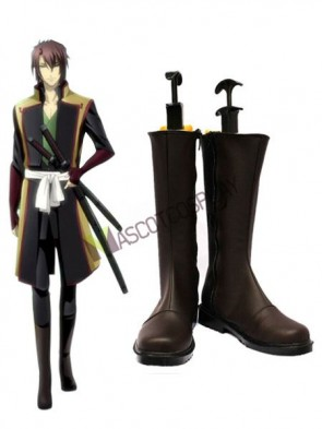 Coffee 1 3/5'' Heel Hakuouki Faux Leather Cosplay Shoes