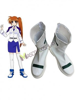 Nanoha Takamachi White Faux Leather 1 1/2'' High Heel Zipper Cosplay Shoes