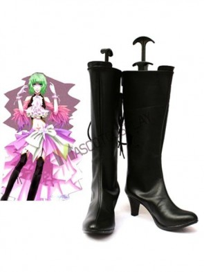 Vocaloid Gumi Black Faux Leather 2 3/4'' High Heel Cosplay Shoes