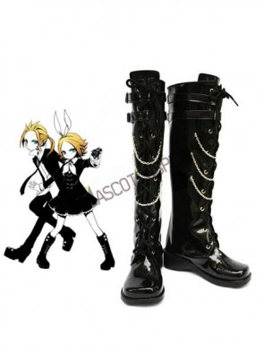 Vocaloid Kagamine Rin Black Faux Leather 2'' High Heel Cosplay Shoes