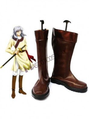 Saiunkoku Monogatari Coffee Faux Leather 1 1/2'' High Heel Zipper Cosplay Shoes