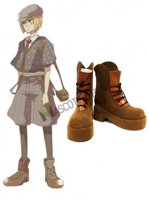 Brown APH 2'' Heel Faux Leather Cosplay Shoes