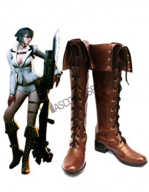 Devil May Cry 4 Lady Coffee Faux Leather 2'' High Heel Lace-Up Cosplay Shoes