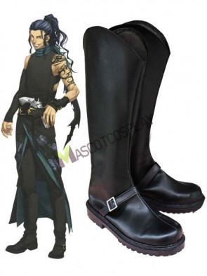 Black Hakuouki 1 3/5'' Heel Faux Leather Cosplay Shoes