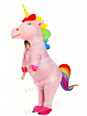 Inflatable Cute Rainbow Unicorn Horse Blow Up Costume Halloween for Kids