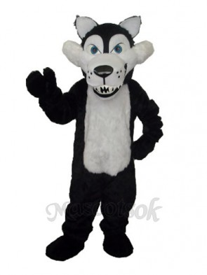 Long Wool Big Black Wolf with White Belly Mascot Adult Costume