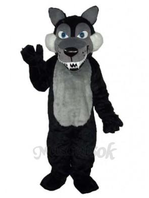 Long Wool Big Black Wolf Mascot Adult Costume