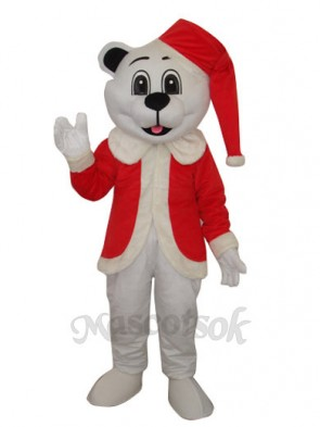 White Bear with Santa Hat Adult Mascot Costume