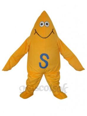 Yellow Starfish Short Plush Adult Mascot Costume
