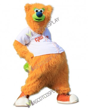 Fresno Grizzlies Parker T. Bear Mascot Costumes Yellow Bear Mascot Cheerleaders
