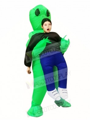 Green Alien ET Carry me Monster Inflatable Blow Up Halloween Xmas Costumes for Kids