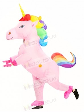 InflInflatable Rainbow Unicorn Horse Blow Up Costume Halloween For Adults