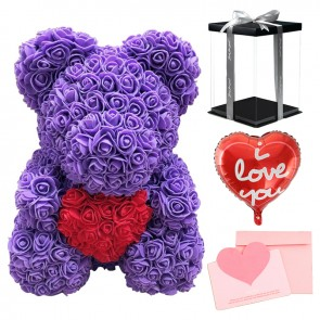 Purple Rose Teddy Bear with Red Heart Flower Bear with Balloon, Greeting Card & Gift Box for Mothers Day, Valentines Day, Anniversary, Weddings & Birthday