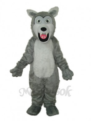 Small Long-haired Gray Wolf Mascot Adult Costume