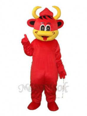 Yellow Mouth Red Cow Mascot Adult Costume
