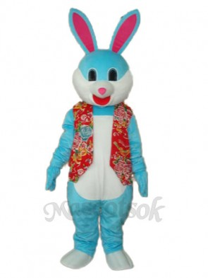 Easter Blue Rabbit in Red Vest Mascot Adult Costume