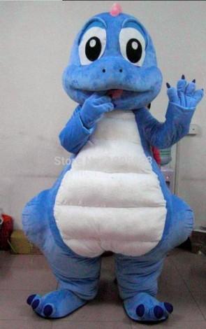 Blue Dragon Mascot Costume Cute Dinosaur Mascot