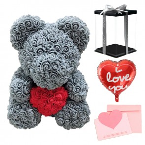 Grey Rose Teddy Bear Flower Bear with Red Heart with Balloon, Greeting Card & Gift Box for Mothers Day, Valentines Day, Anniversary, Weddings & Birthday