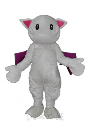 Scary teeth white monster cat Mascot Costume