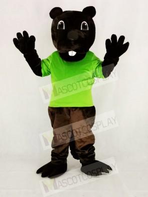 Funny Brown Barney Beaver in Green Mascot Costume Cartoon