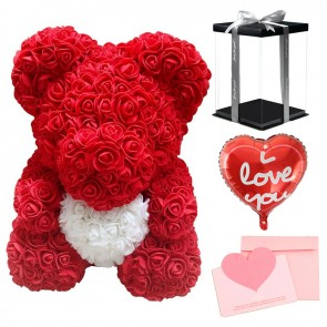 Red Rose Teddy Bear Flower Bear with White Heart with Balloon, Greeting Card & Gift Box for Mothers Day, Valentines Day, Anniversary, Weddings & Birthday
