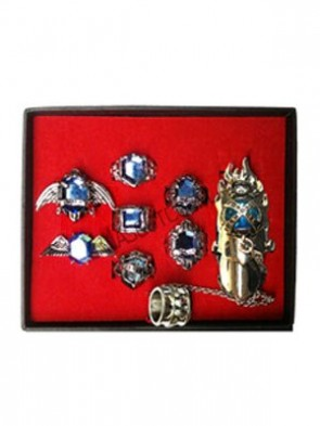 Katekyo Hitman Reborn Blue Alloy Cosplay Ring Set With Box