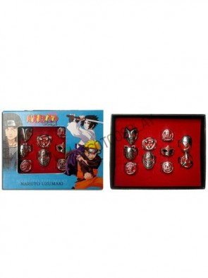 Naruto Silver Alloy 10 Piece Anime Ring Set