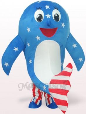 Blue American Dolphin Plush Adult Mascot Costume