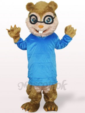 Blue Squirrel With Long Hair And Short Teeth Plush Adult Mascot Costume