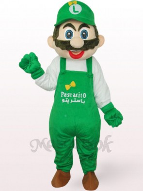 Green Luigi Mario Plush Mascot Costume