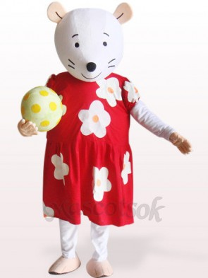 Cute Mouse In Red And White Floral Dress Plush Mascot Costume