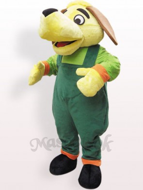 Green And Yellow Dog Plush Adult Mascot Costume