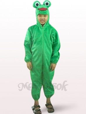 Green Frog Open Face Kids Plush Mascot Costume