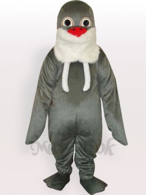 Grey Walrus with White Beard and Red Nose Adult Mascot Funny Costume
