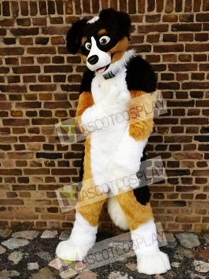 High Quality Brown Black and White Dog Mascot Costume
