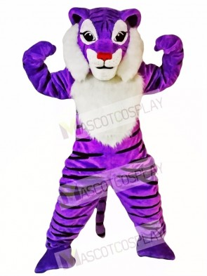 Purple Tiger Mascot Costume Animal