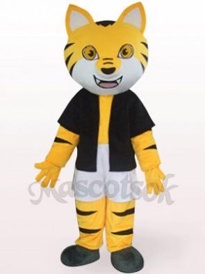 Orange Tiger In Black Underwaist Plush Mascot Costume