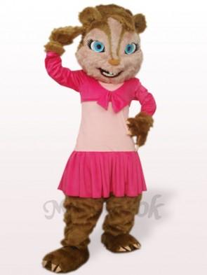 Pink Long Hair Squirrel Plush Adult Mascot Costume
