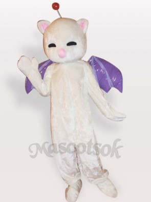 Pink Nose White Cat Short Plush Adult Mascot Costume